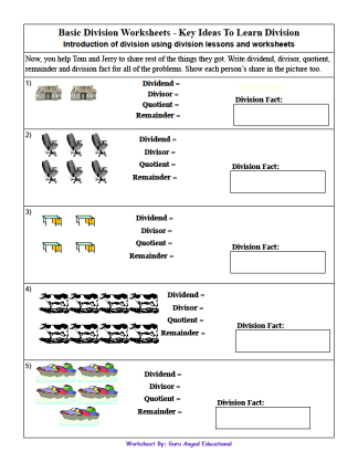Print the basic division worksheet by clicking on the image. For more dividing worksheets visit the special page on this concept